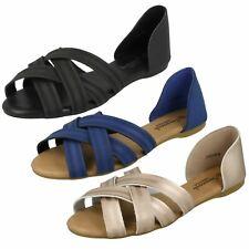 Ladies Savannah Flat X Strap Sandals F00059