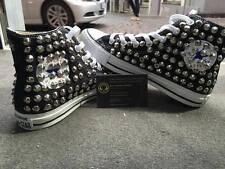 Converse All Star Nere Alte personalizzate con Borchie Grigie Clean Stella Star