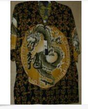 NWT CHINA DRAGON  HAWAIIAN SHIRT SIZE  M GOLD print on black & front