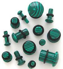 1 Pair Organic Stone Single Flare Ear Plugs Gauges Green Malachite Pick Size 716