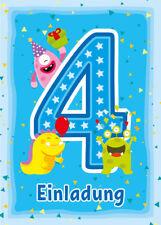 Einladungskarten Einladungen 4. Kindergeburtstag vierte Geburtstag MONSTER