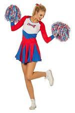 Cheerleader Costume Costume Donna donna Carnevale Vestito blu rosso bianco