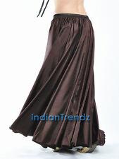 Coffee - 360 Full Circle Satin Long Skirt Swing Belly Dance Costume Tribal