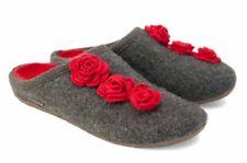 Haflinger DAKOTA Rose Hausschuhe Filz f Einlagen anthrazit rot Blumen 483119 NEU