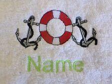 Ancla Salvavidas y el nombre bordado en Toallas baño Batas de CAPUCHA Navegación