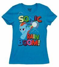 Juniors Hasbro My Little Pony Sonic Rain Boom Turquoise Blue T-shirt Tee