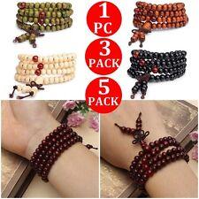 5X 3X Sandalwood Buddhist Buddha Meditation 108 Prayer Bead Mala Bracelet Retro