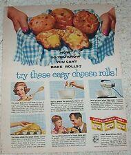 1961 Fleischmann's Yeast Cheese Rolls recipe & Bell Telephone princess phones AD