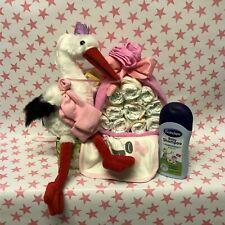 Windeltorte Storch für Jungen / Mädchen Geschenk Geburt Baby Taufe Plüsch Storch