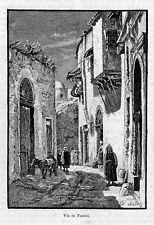 Stampa antica TUNIS Tunisi scorcio di una via con figure Tunisia 1892 Old Print