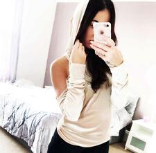 Hooded Cold Shoulder Jumper Velvet Top Long Sleeve Size UK New ❤