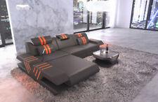 Ecksofa Couch Echtleder Design VENEDIG L Form Ottomane LED Beleuchtung USB