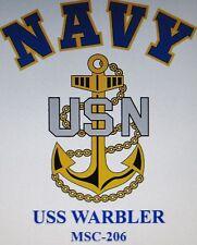 USS WARBLER  MSC-206* MINESWEEPER * U.S NAVY W/ ANCHOR* SHIRT