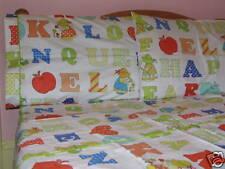 Kids Cotton Twin Size Alphabets Kids Duvet Cover Bedding Set White Red Blue
