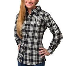 Women's Oakland Raiders Klew Black Wordmark Flannel Button-Up Long Sleeve Shirt