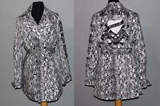ED HARDY Black White Snake Print Belt Appliqued Rhinestones Trench Coat Wms NWT