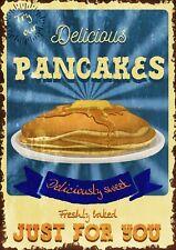 Pancakes Advertisement Vintage Retro Style Metal Sign, cafe, kitchen, gift, food