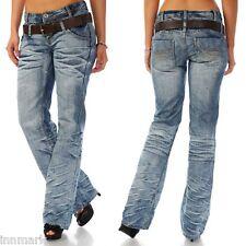 264 Kick Flare Hipster Mid Rise Destroyed Blue Washed Jeans incl. Belt 6 - 14