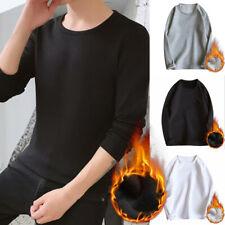 Mens Fleece Thermal Underwear O- Neck Long Sleeve Top Ski Winter Casual T Shirt