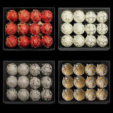 Boîte de 12 pailleté & Gem Noël 80mm boules (DP) - choisissez la couleur