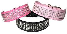New Dog Leather Collar Five Row BlingBling Rhinestones Diamante Collar S M L