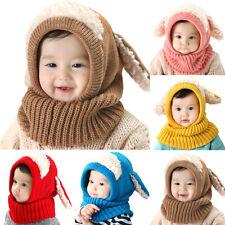 Toddler Kids Earflap Caps Boys Girs Warmer Cute Hat Scarf One Piece Knit Beanies