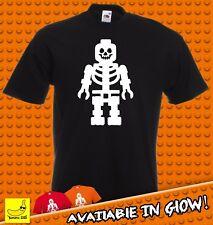 Lego Esqueleto Halloween Disfraz Aterrador Camiseta Calavera espeluznante Fancy Dress Truco Tee