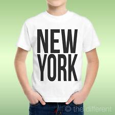 T-Shirt Bambino Ragazzo Scritta New York Nera Idea Regalo