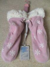 EX FAT FACE PINK SNOWFLAKE SOFT FLEECE LINED FAUX FUR TRIM SLIPPER BOOTS SZE 3-4