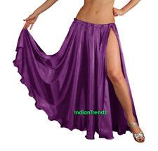 Purple - Satin 2 Slit Full Skirt Belly Dance Gypsy Tribal 9 Yard Panel Jupe