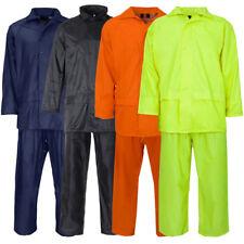 Adults Overall Rain Suit Jacket & Trousers Waterproof Set Mens PVC Rain Coat NEW