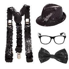 Sequin Sparkle Geek Fancy Dress Kit - Glasses + Hat + Bowtie + Braces - Black