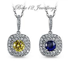 Necklace/White Gold/Square Design/N477/469 Simulated Diamond/Sapphire Pendant