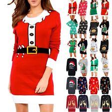 Womens Ladies Xmas Elf Costume Candy Stick Printed Knit Baggy Jumper Mini Dress
