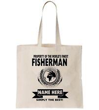 Fisherman Personalised Tote Bag Shopper Thanks Amend Birthday Gift Angler Fish