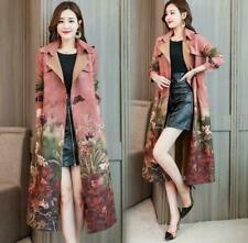 Womens Faux Suede Floral Print Lapel Belt Long Trench Coat Jacket Outwear Coat@h