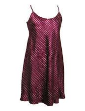 Ladies Satin Chemise / Nightie / Slip - Burgundy with Cream Hearts - Sizes  8/22