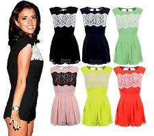 Ladies Celeb Lace Black Navy Peach Chiffon Sexy Party Playsuit Womens Dress 8-14