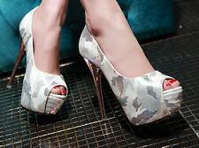 Décollte Zapatos de salón mujer talón y la meseta 13.5 cm blanco militar 9192