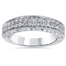 1 1/10ct Pave Diamond Wedding Ring Womens Anniversary Band 14K White Gold