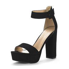 DREAM PAIRS HI-LO Women High Chunky Platform Heel Open Toe Ankle Pumps Sandals