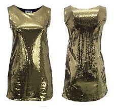 Damen Übergröße Gold Pailletten Ärmelloses Kleid Partykleidung Mädchen Damen