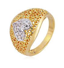 18k Yellow/White gold filled GF 2 tone heart CZ wedding woman ring Size7, 8, 9