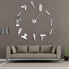 Barber Shop Hair Tools Oversized DIY Wall Clock Frameless Room Decor Clocks