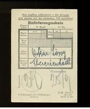 Germany Theresienstadt Ghetto Parcel post receipt Oskar Lowy Kz