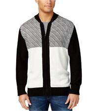 Sean John Mens Jacquard Zip-Up Cardigan Sweater