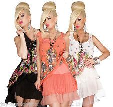 Damen Sommer Tunika Top 2er Set Longbluse Chiffon Tüll Blumen Mehrfarbig Bluse