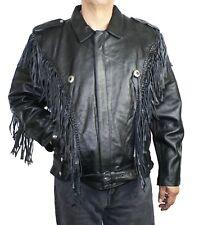Men Big Sizes Belted Fringed Leather Motorcycle Jacket Style M-2