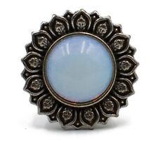2x White Opal Stone Lotus Flower Ear Tunnel Plug Piercing Body Jewelry