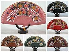 Spanish flamenco wooden hand fans eventails fächer ventagli abanicos mix colours